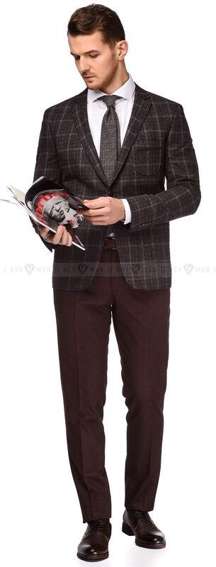 Костюм мужской Keyman Костюм-тройка серо-бордовый пиджак в клетку (грубая шерсть) - фото 2