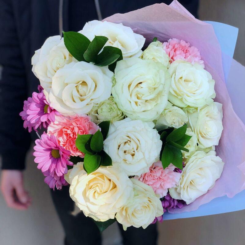Магазин цветов Кошык кветак Букет классический из розы, гвоздики, рускуса, хризантемы - фото 1