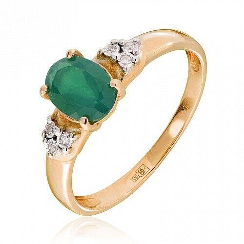 Ювелирный салон Jeweller Karat Кольцо золотое с бриллиантами и хризопразом арт. 3216129/9 - фото 1
