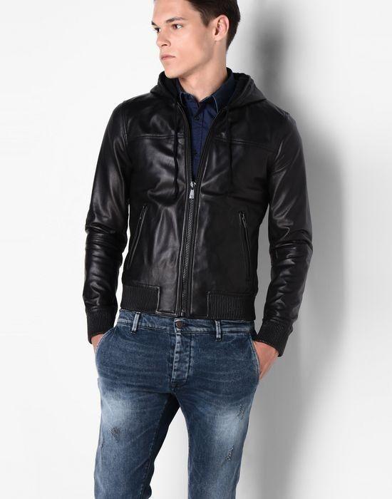 Верхняя одежда мужская Trussardi Кожаная куртка-бомбер мужская 52S02 _510070 - фото 2