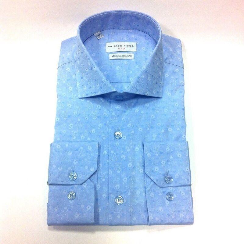 Кофта, рубашка, футболка мужская Ricardo Ricco Мужская рубашка, цвет: голубой (Slim Fit) J4 - фото 1