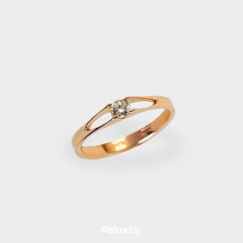 Ювелирный салон Белорусские Бриллианты Кольцо из золота со вставкой бриллиант синт. 21010007 - фото 1