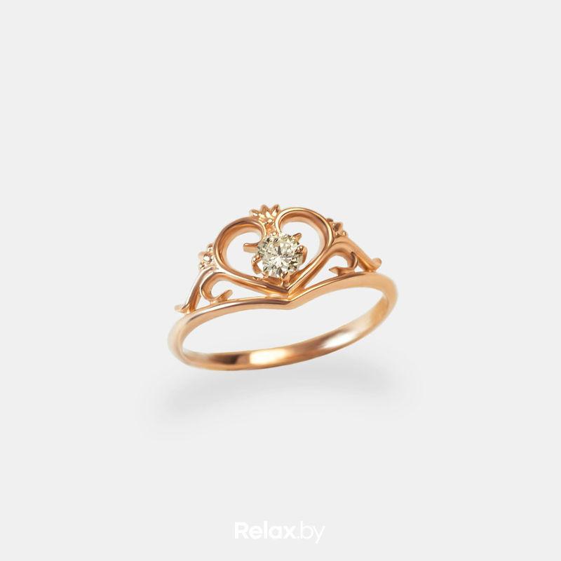 Ювелирный салон Белорусские Бриллианты Кольцо из золота со вставкой бриллиант синт. 21010036 - фото 1