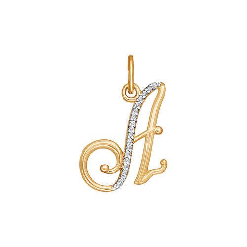 Ювелирный салон Sokolov Подвеска-буква «А» из золота 034526 - фото 1