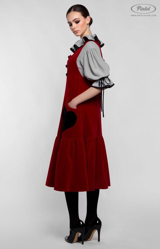Костюм женский Pintel™ Костюм из блузы и бархатного сарафана Henriksuü - фото 2