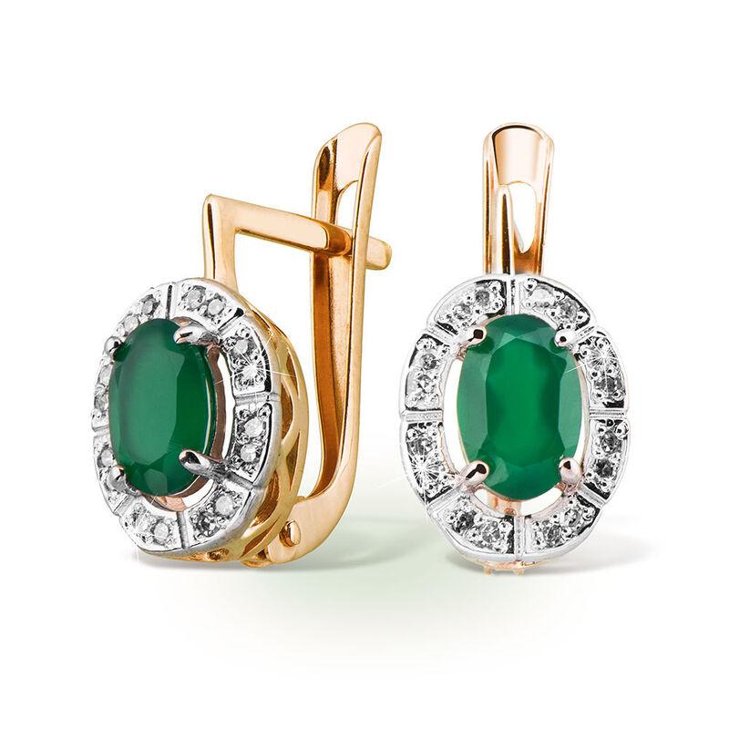 Ювелирный салон Jeweller Karat Серьги золотые с бриллиантами и хризопразом арт. 3224883 - фото 1