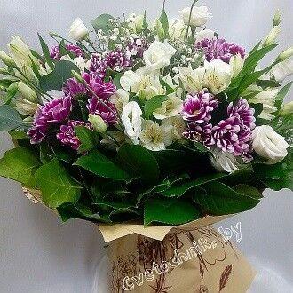 Магазин цветов Цветочник Букет из хризантем с эустомой - фото 2