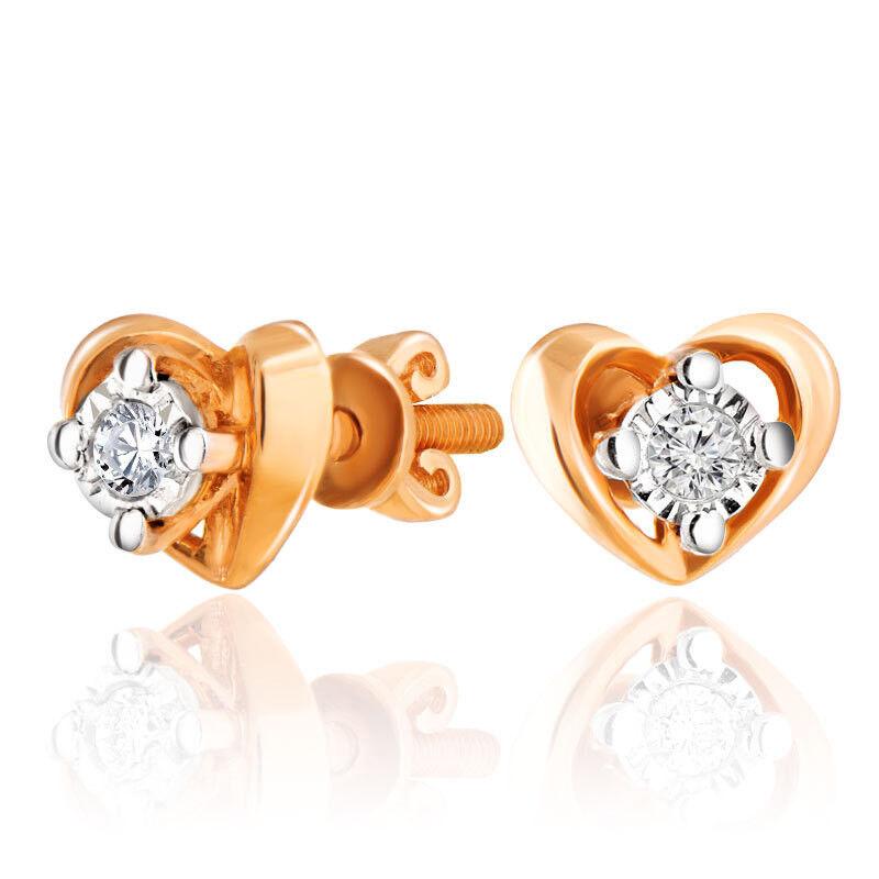 Ювелирный салон Jeweller Karat Серьги золотые с бриллиантами арт. 3222981/9 - фото 1