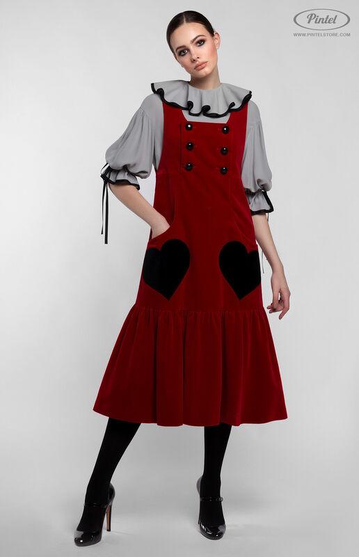 Костюм женский Pintel™ Костюм из блузы и бархатного сарафана Henriksuü - фото 1