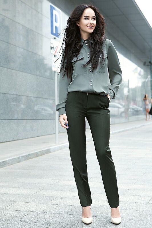 Кофта, блузка, футболка женская SL.IRA Шелковая рубашка зеленого цвета - фото 1