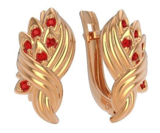 Ювелирный салон ZORKA Серьги из розового золота с рубинами 3P3018.14K.R - фото 1