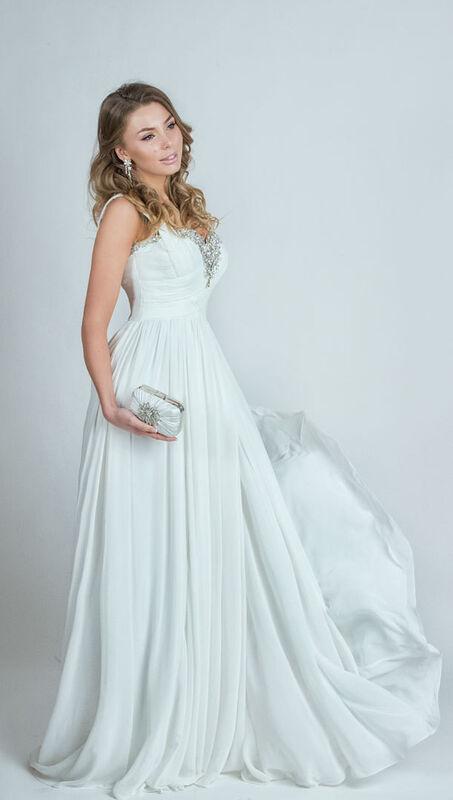 Свадебное платье напрокат Yusupova Couture Свадебное платье в греческом стиле, с вышивкой на груди - фото 2