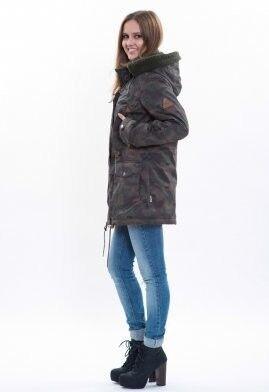 Спортивная одежда Free Flight Парка женская зимняя удлинённая зелёный камуфляж - фото 2