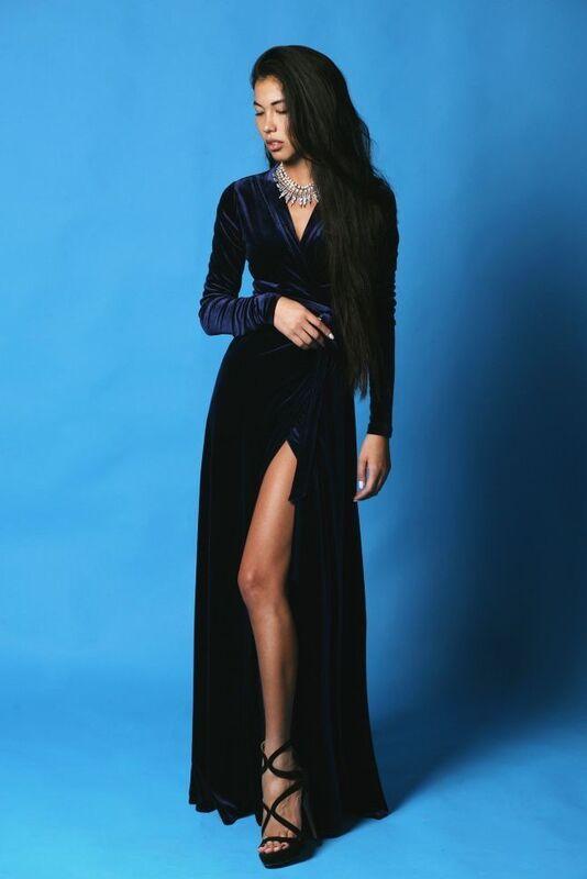 Платье женское SL.IRA Платье в пол велюровое синее - фото 1