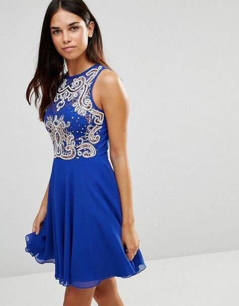 Вечернее платье Shkafpodrugi Коктейльное платье синего цвета с вышивкой 1427 - фото 1