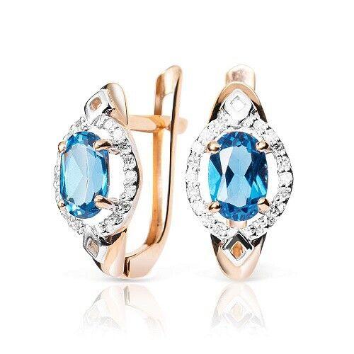 Ювелирный салон Jeweller Karat Серьги золотые с бриллиантами и топазом арт. 1225908 - фото 1