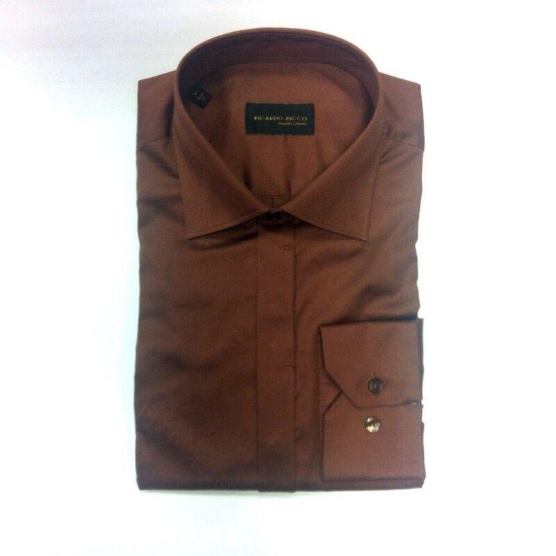 Кофта, рубашка, футболка мужская Ricardo Ricco Мужская рубашка, цвет: шоколад (Slim Fit) RR2 - фото 1
