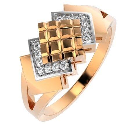 Ювелирный салон ZORKA Кольцо из розового золота с фианитом 210697.14K.R - фото 1