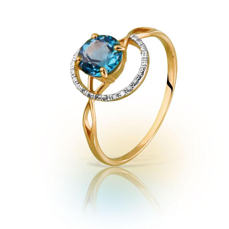 Ювелирный салон Jeweller Karat Кольцо золотое с бриллиантами и топазом арт. 1214527 - фото 1