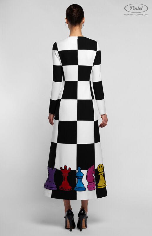 Платье женское Pintel™ Комбинированное чёрно-белое оп-арт миди-платье Finna - фото 3
