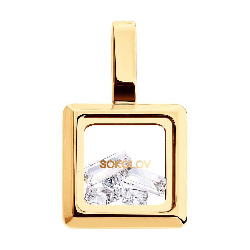 Ювелирный салон Sokolov Золотая подвеска со Swarovski Zirconia и минеральным стеклом 035354 - фото 1