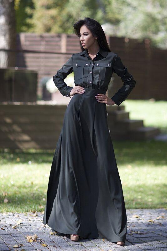Платье женское SL.IRA Платье с серебряными пуговицами зеленого цвета - фото 1