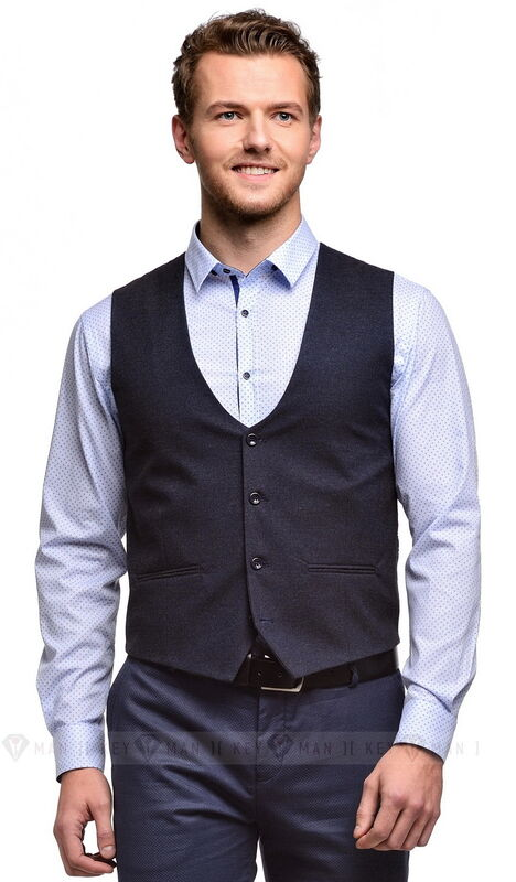 Пиджак, жакет, жилетка мужские Keyman Жилет мужской сине-серый имитация шерсти - фото 1