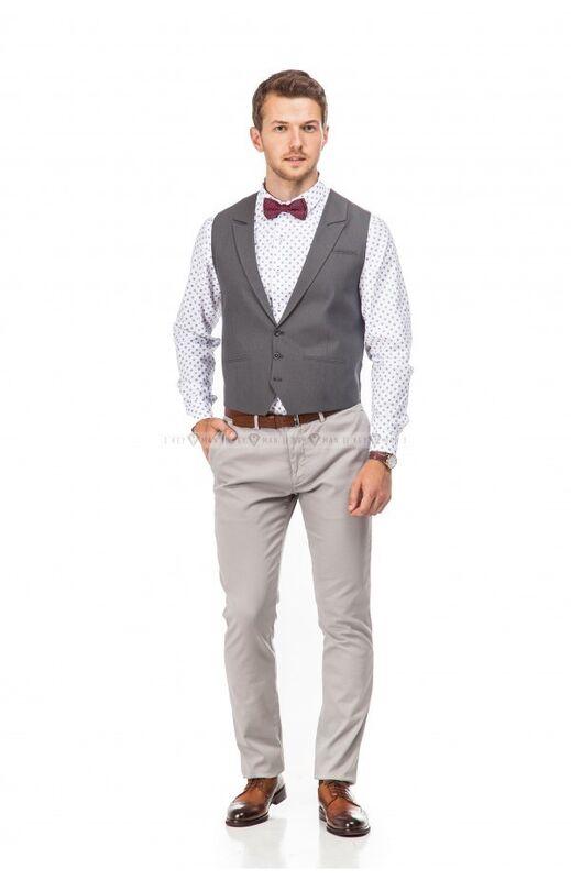 Пиджак, жакет, жилетка мужские Keyman Жилет мужской серый с лацканами - фото 2