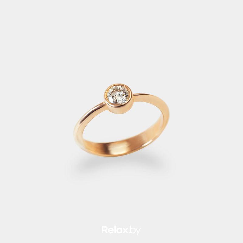 Ювелирный салон Белорусские Бриллианты Кольцо из золота со вставкой бриллиант синт. 21010029 - фото 1