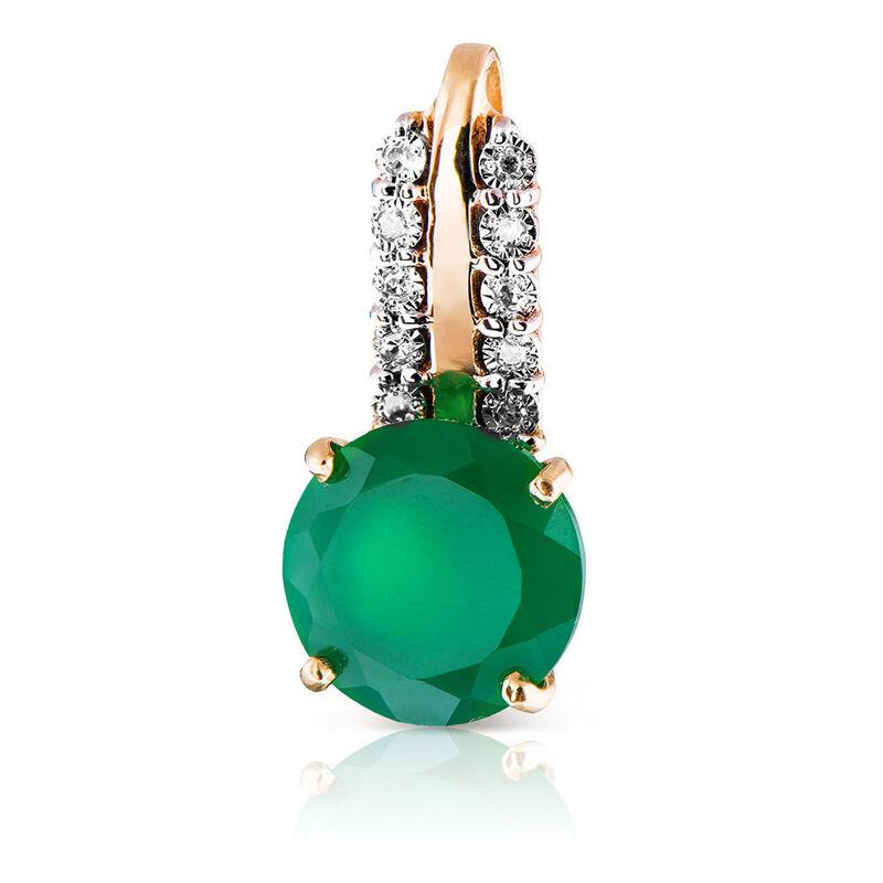 Ювелирный салон Jeweller Karat Подвеска золотая с бриллиантами и хризопразом арт. 3236005/9 - фото 1