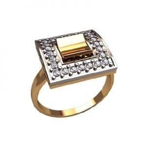 Ювелирный салон jstudio Золотое кольцо с различными фианитами 10339 - фото 1