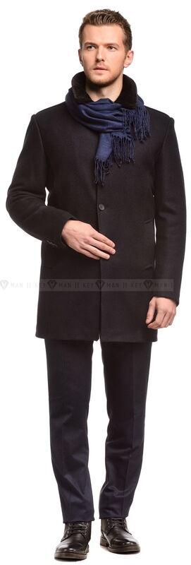 Верхняя одежда мужская Keyman Пальто мужское синее шерстяное утепленное мехом - фото 1