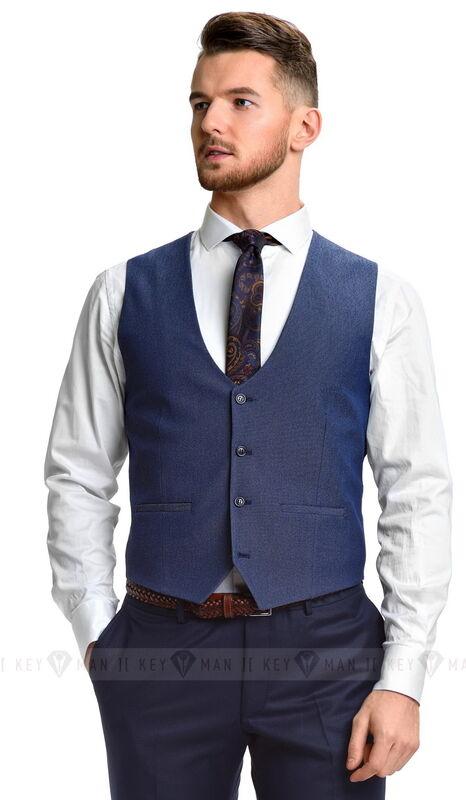 Пиджак, жакет, жилетка мужские Keyman Жилет мужской синий в черно-белую фактуру - фото 1