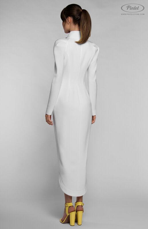 Платье женское Pintel™ Приталенное белое платье с длинным рукавом YOŬMNA - фото 3
