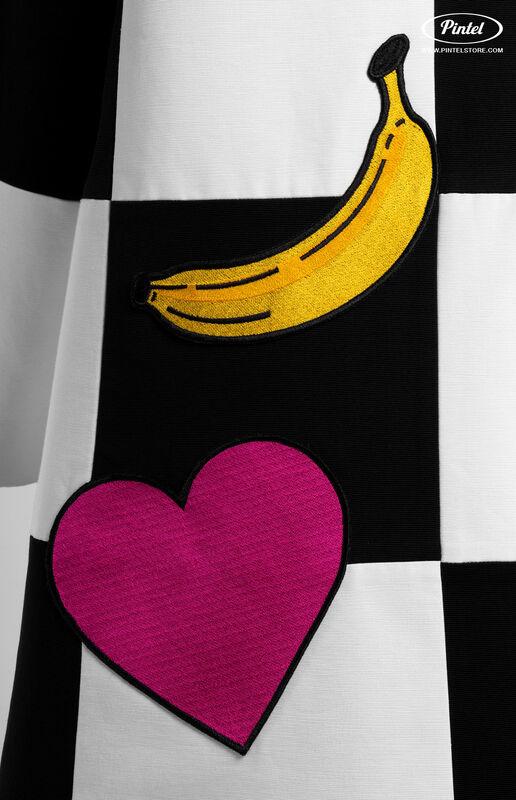 Верхняя одежда женская Pintel™ Комбинированное оп-арт полупальто прямого силуэта Maloü - фото 8