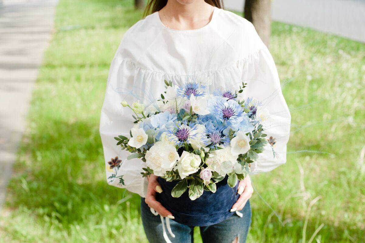 Магазин цветов Цветы на Киселева Букет «Голубой лен» - фото 1