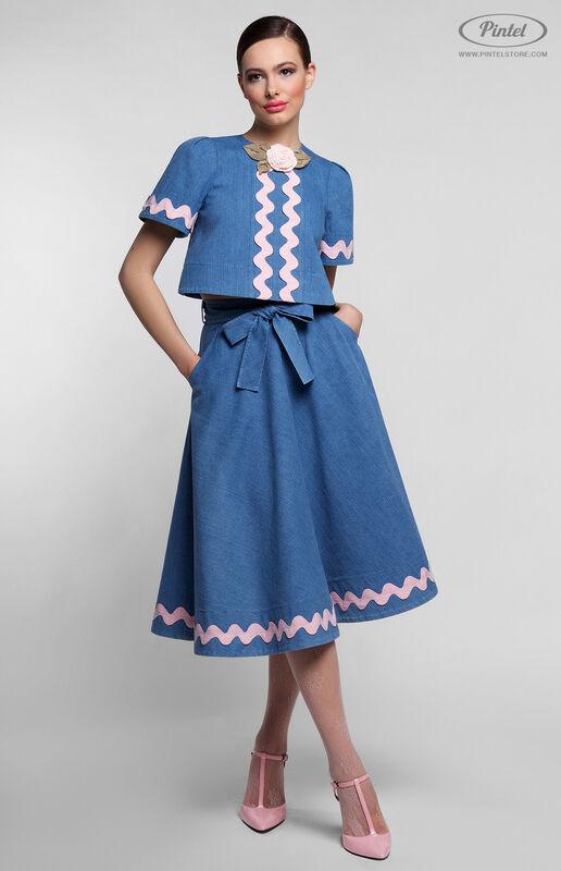Костюм женский Pintel™ Джинсовый костюм с отделкой хлопковой лентой TARU - фото 1