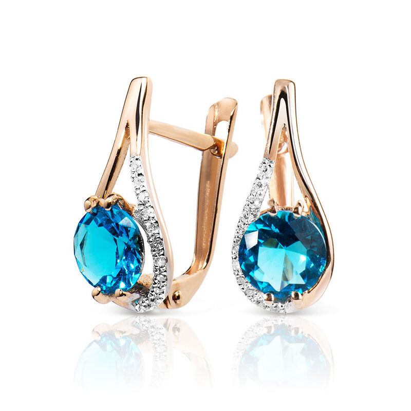 Ювелирный салон Jeweller Karat Серьги золотые с бриллиантами и топазом арт. 1225239 - фото 1