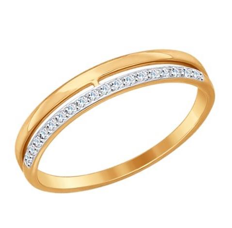Ювелирный салон Sokolov Обручальное кольцо из золота с фианитами 017151 - фото 1