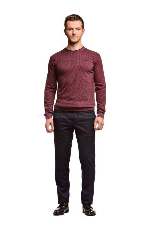 Кофта, рубашка, футболка мужская Keyman Джемпер мужской бордовый в мелкий рисунок - фото 1