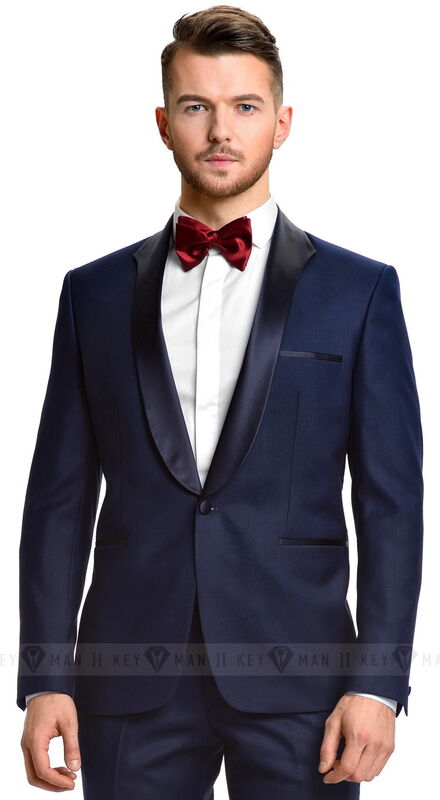 Костюм мужской Keyman Костюм мужской смокинг синий с фигурным лацканом - фото 1
