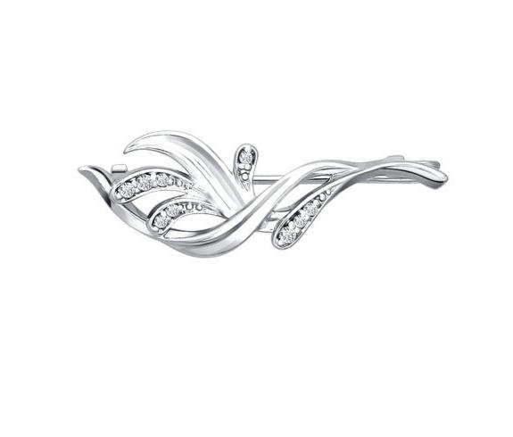 Ювелирный салон Sokolov Брошь из родированного серебра 94040060 - фото 1