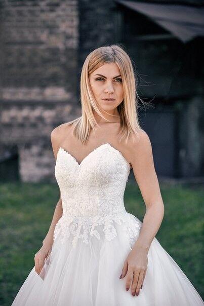 Свадебное платье напрокат Shkafpodrugi Свадебное платье с корсетом и открытыми плечами 0004-16 - фото 2