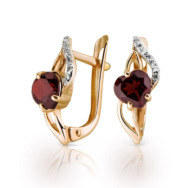 Ювелирный салон Jeweller Karat Серьги золотые с бриллиатами и гранатом арт. 1224632 - фото 1