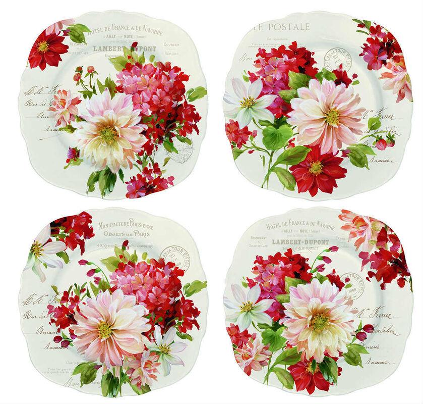 Подарок Nuova R2S Набор из 4-х керамических тарелок «Season Flowers» 20 см, R0615#SEAS - фото 1