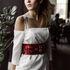 Вечернее платье Кураж Вечернее платье белое с красным поясом - фото 2