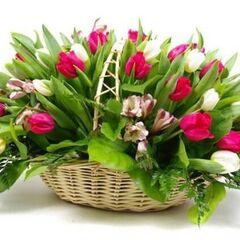 Магазин цветов Долина цветов Корзина из тюльпан