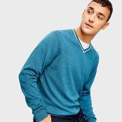 Кофта, рубашка, футболка мужская O'stin Джемпер мужской с V-вырезом  MK6U12-N5