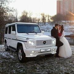 Прокат авто Прокат авто с водителем, Mercedes-Benz Gelandewagen белого цвета