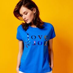 Кофта, блузка, футболка женская O'stin Футболка с блестящим принтом LT4U82-63